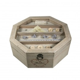 Polygon wood sewing box