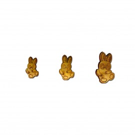 Rabbit wooden button
