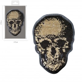 XL Iron-on sequins skull