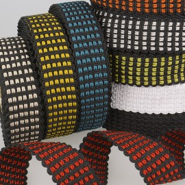 Webbing knitted