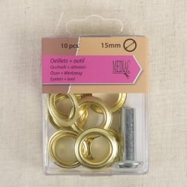 Eyelets+tool 15mm *10p