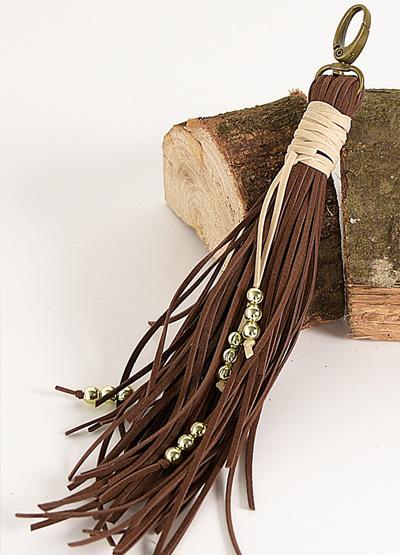 mousqueton, suédine, perle, décoration
