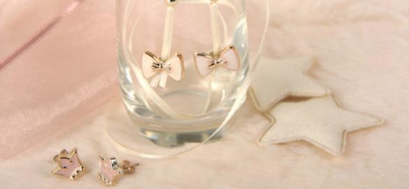 clous, oreilles, bijoux, ruban, perle, bouton