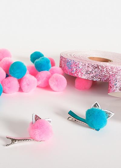 Barrettes, pompon, chat, fille, DIY, glitter, création
